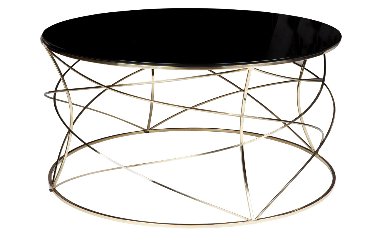 Sophie Coffee Table With Black Glass Top Gold Frame Inhouse Collections