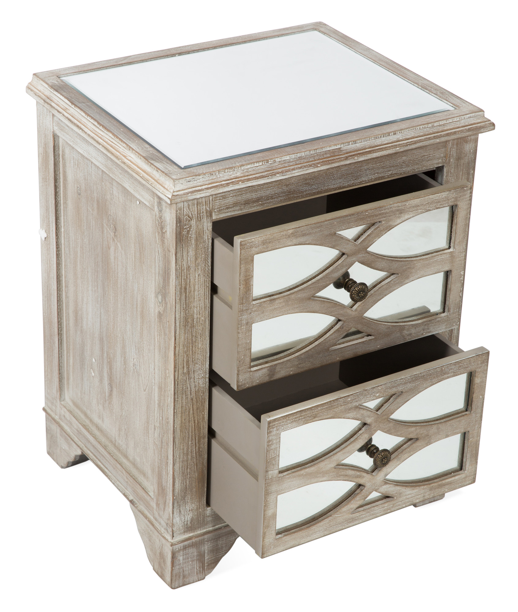 Delightful 2 Draw Wooden Lattice Mirrored Bedside Table FF761111 Design Inspirations