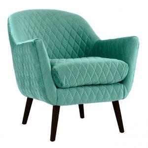 Joy Arm chair Aqua fabric timber legs