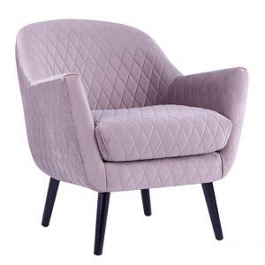 Joy Arm chair Lilac fabric timber legs