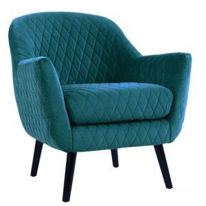Joy Arm chair Peacock fabric timber legs