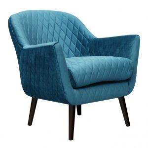 Joy Arm chair Sea Blue fabric timber legs