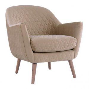 Joy Arm chair Tan fabric timber legs