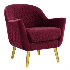 Joy Arm chair Merlot fabric timber legs