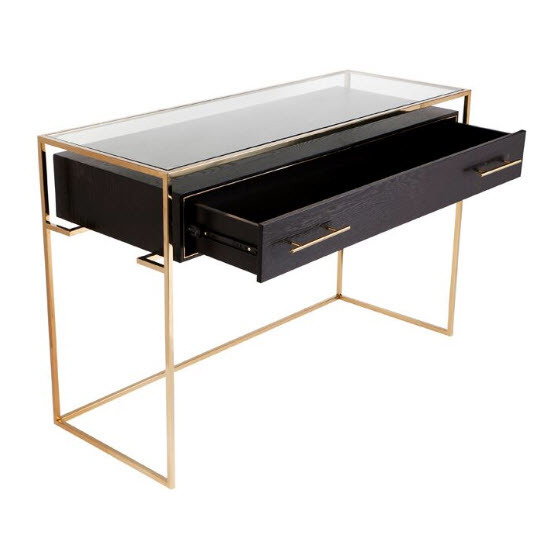 3pc Black Temper Glass Tops Metal Legs Coffee Table W: Vogue Black And Gold Console Table