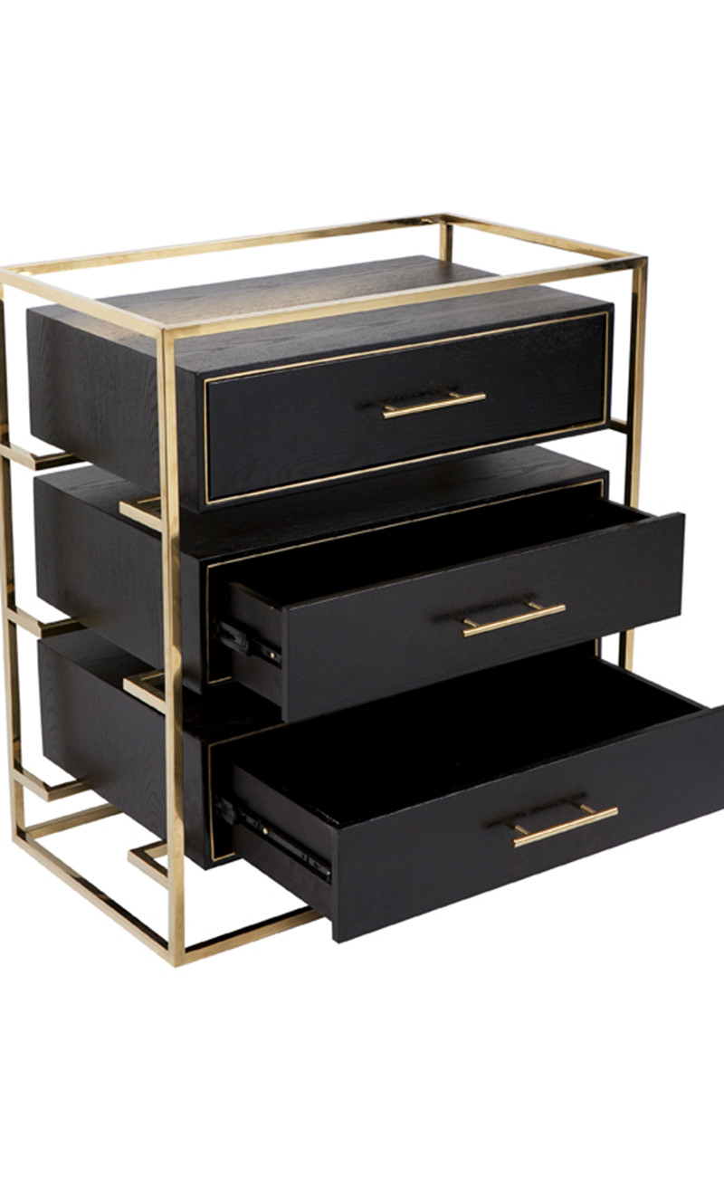 Vogue Black And Gold Bedside Table Inhouse Collections