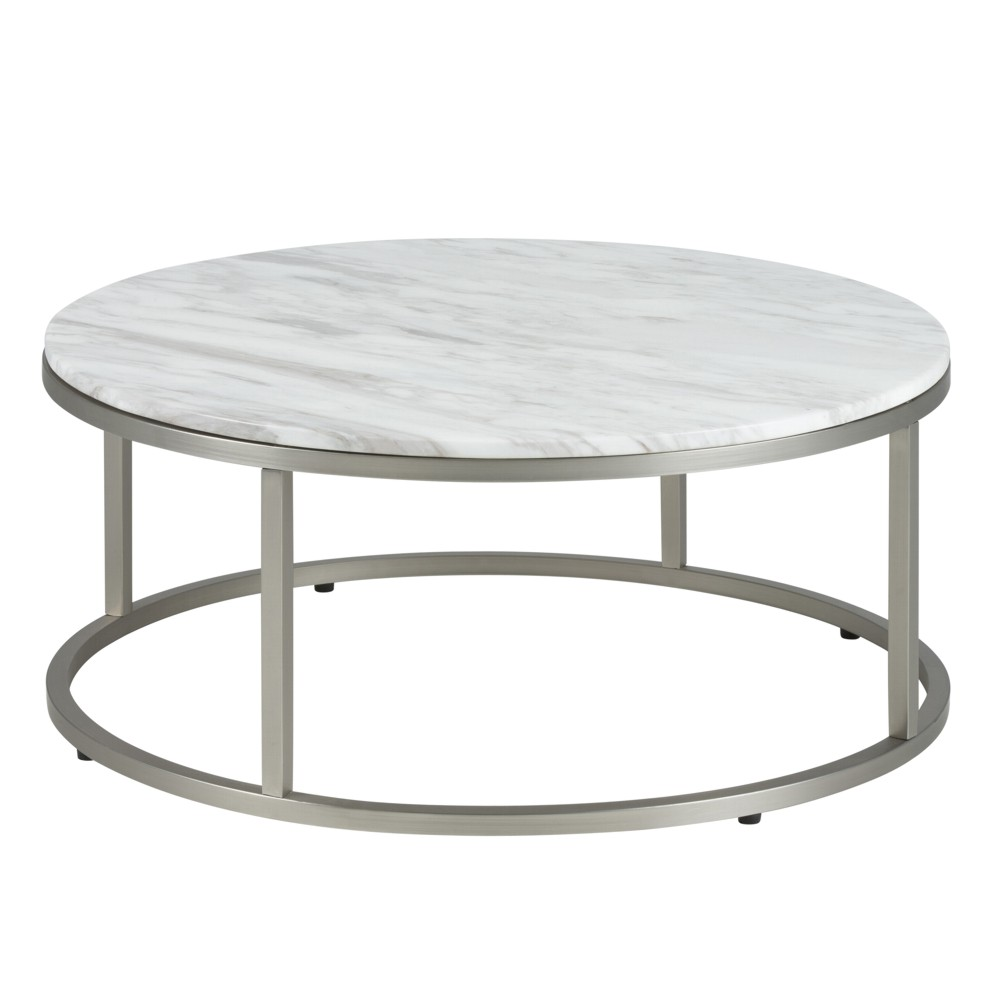 Linus 79cm White Marble Coffee Table: Willem Marble & Stainless Steel Coffee Table