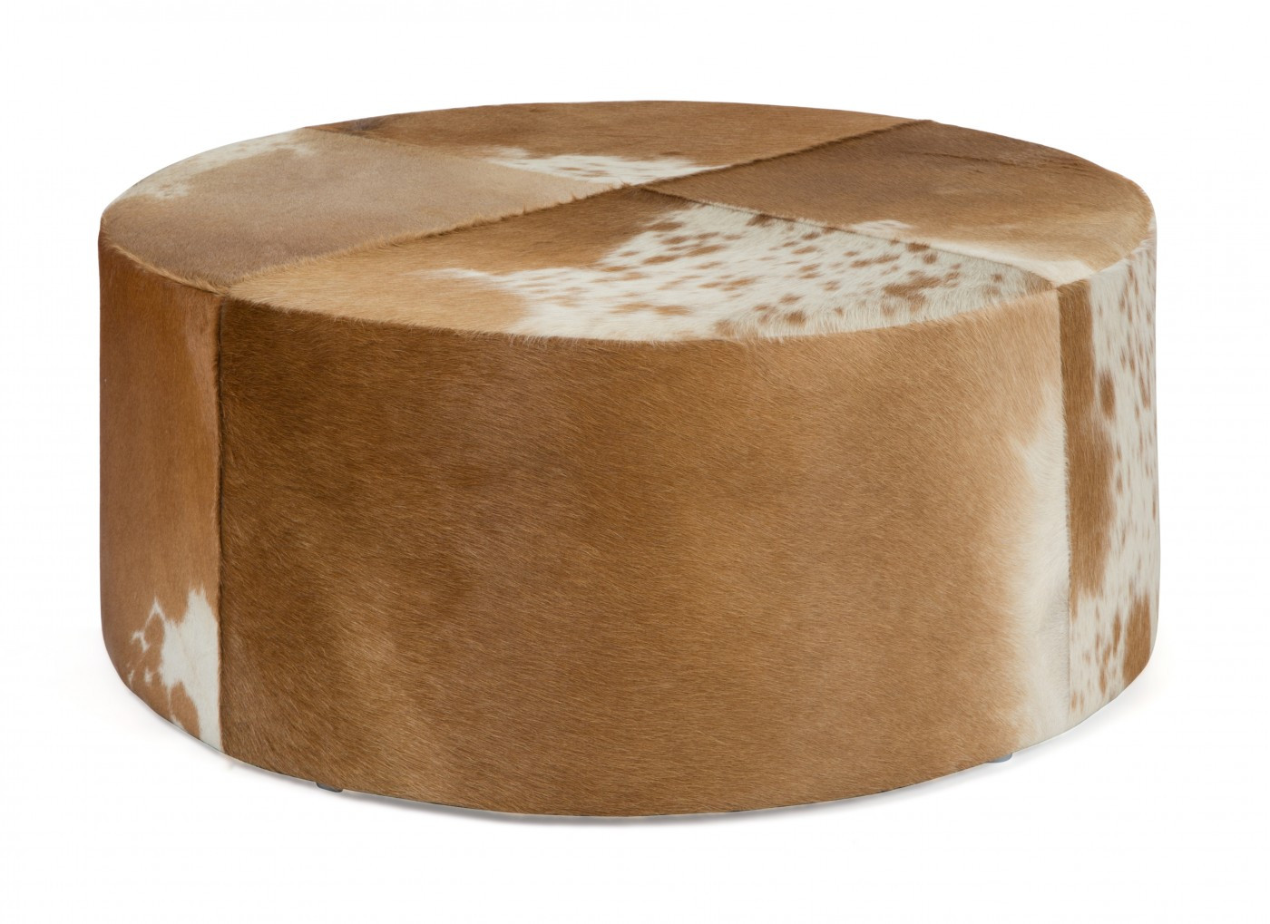 Cow Hide Round Ottoman Inhouse Collections