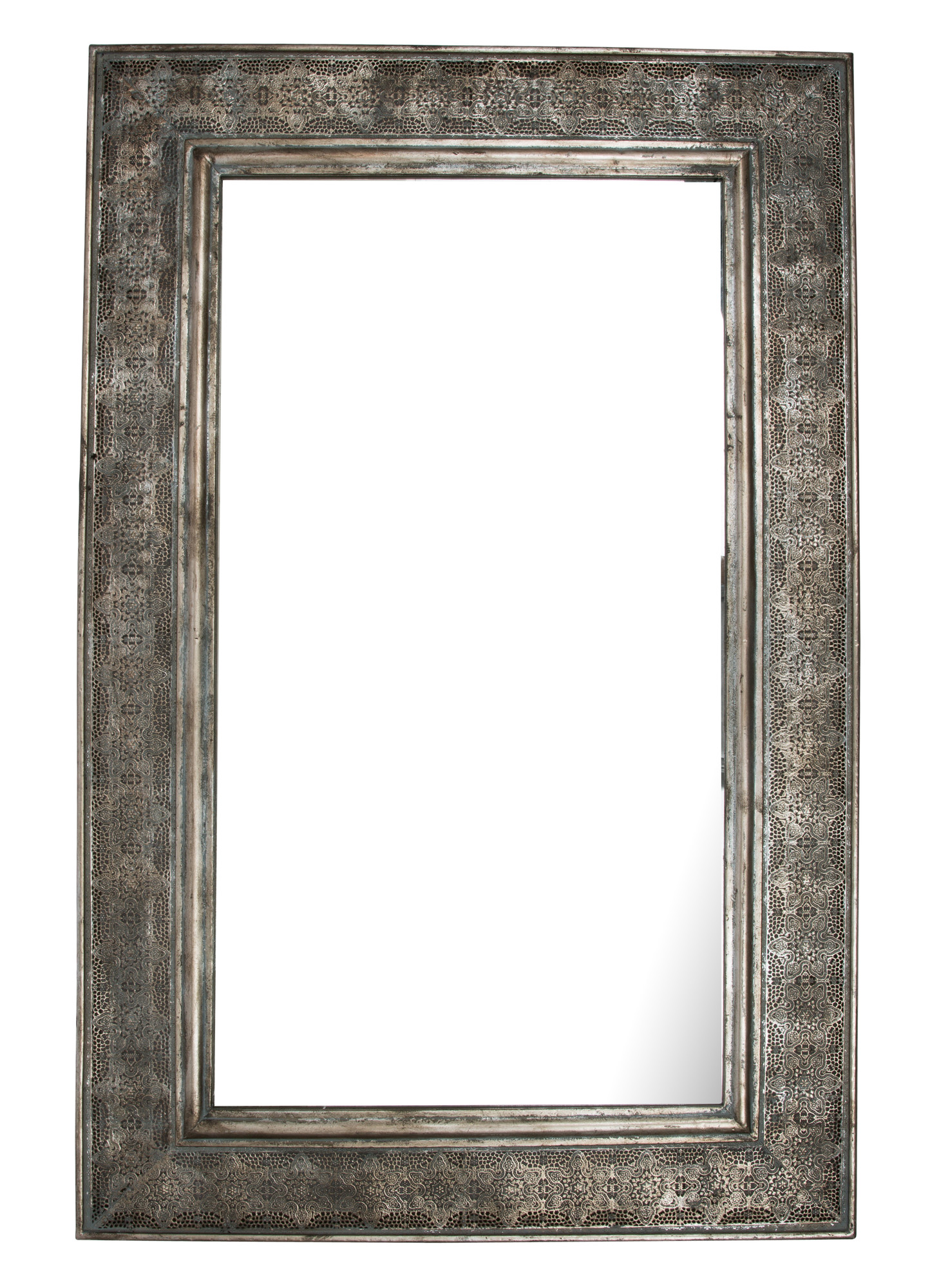 Rectangular Mirror With Wide Metal Cutwork Frame Inhouse