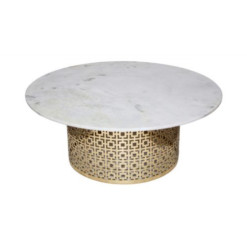 Gold And White Marble Coffee Table.Round Marble Coffee Table With Gold Base
